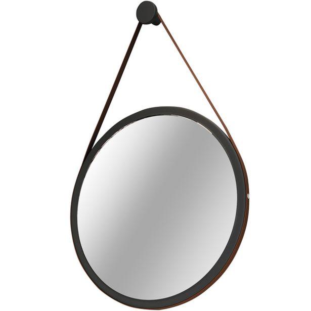 Oferta de Espelho Redondo Decorativo Adnet Escandinavo Com Alça De Couro 67 Cm Nix - Lyam Decor por R$319,9