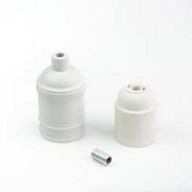 Oferta de Kit 5 Bocal Soquete E27 Para Lâmpada Modelo Metal Frisado Tamanho Padrao Acabamento Fosco Branco Matte por R$38,94