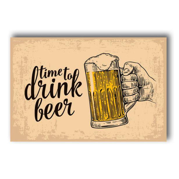 Oferta de Placa Decorativa Frase Time Drink Beer 30x40 Cm por R$29,99