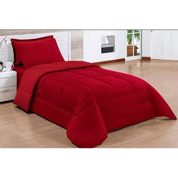 Oferta de Kit 4 Peças Colcha Confort Dupla Face Solteiro Cotex Vermelho por R$110,89