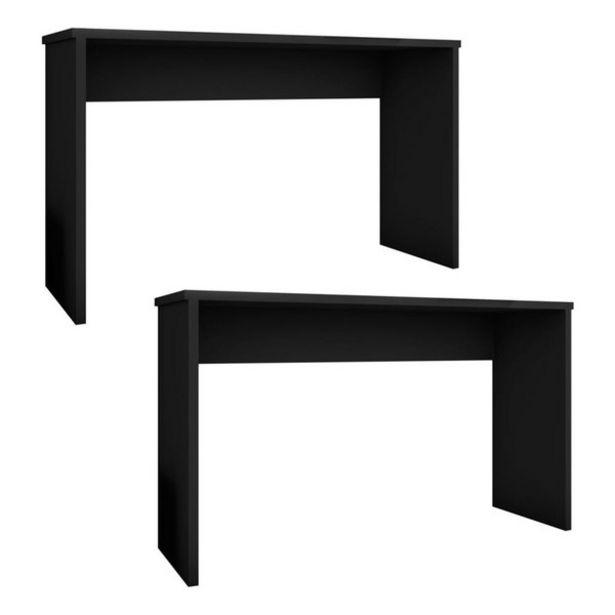 Oferta de Kit 2 Mesas Para Computador Escrivaninha Gávea Preto - Móveis Leão por R$477,9