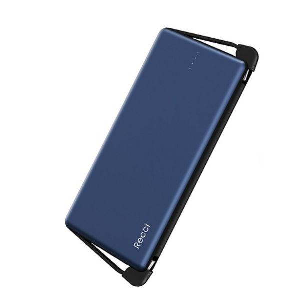 Oferta de Carregador Portátil Power Bank 10.000mah Recci Universal - Azul por R$99,9