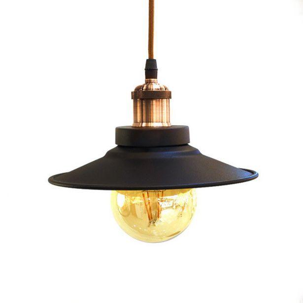 Oferta de Luminária De Teto Pendente Roof Cor Preto Com Acabamento Marrom Para 1 Lâmpada E27 - Pd-roof por R$135,14