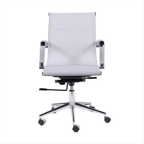 Oferta de Cadeira Tela Baixa Branca Com Base De Rodízio - Or Design por R$691,49
