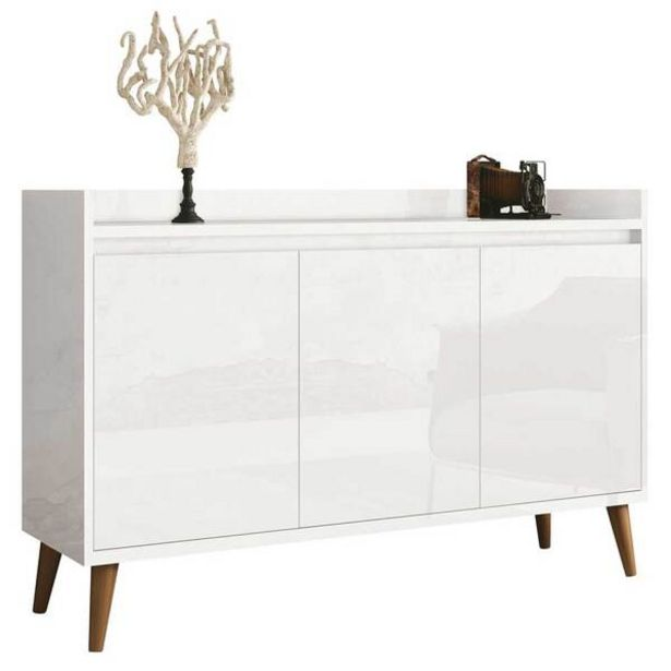 Oferta de Balcao Buffet Retrô Delta 3 Portas Branco Gloss - Moveisaqui por R$439,99