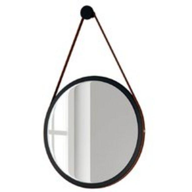 Oferta de Espelho Redondo Decorativo Adnet Escandinavo com Alça de Couro 54 cm Nix - Lyam Decor por R$279,9