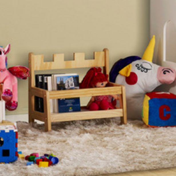 Oferta de Porta Livros Infantil Montessori Castelo De Madeira/mdf Casatema por R$118,31