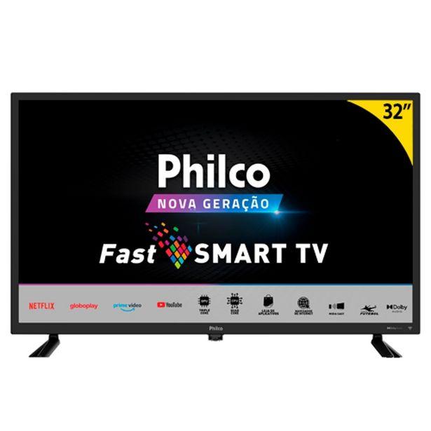 """Oferta de Smart TV LED 32"""" Philco PTV32D10N5SKH Quad-Core 2 HDMI 1 USB Preto por R$1399"""
