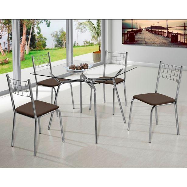 Oferta de Conjunto Mesa Atlanta 4 Cadeiras Cromado Corino Marrom Bc-74 Aço Nobre por R$799