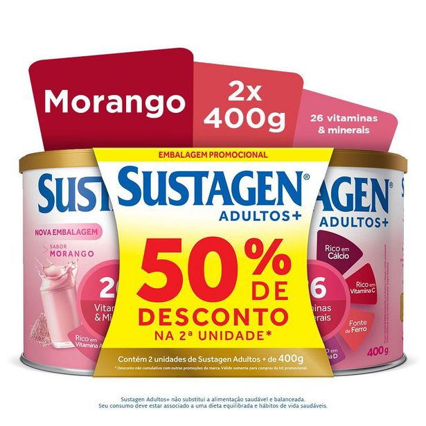 Oferta de Sustagen Morango 400g Com 02 Unidades Ganhe 50% De Desconto Na Segunda Unidade por R$83,99
