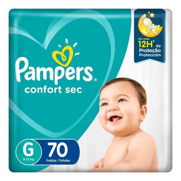 Oferta de Fralda Pampers Confort Sec Giga Tamanho G Com 70 Unidades por R$72,99