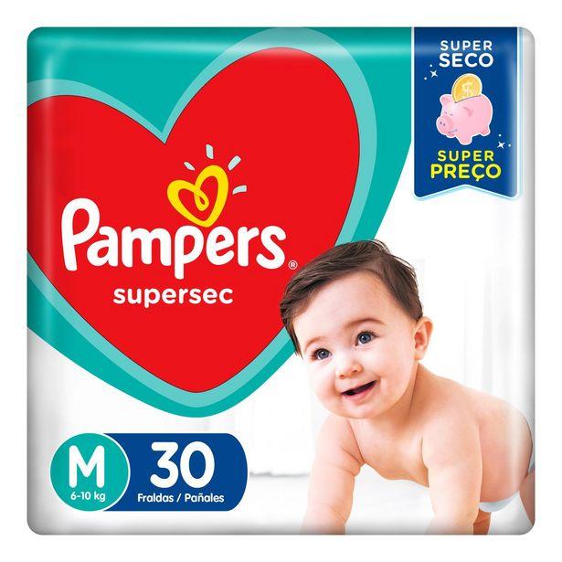Oferta de Fraldas Pampers Supersec M 30 Unidades por R$19,9