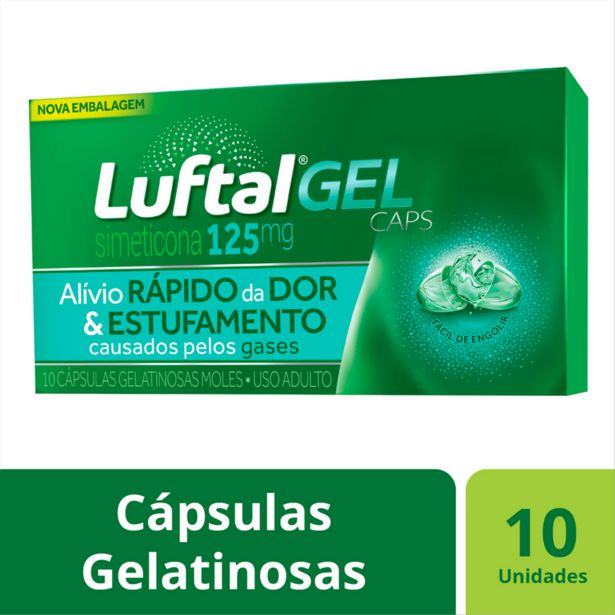 Oferta de Antigases Luftal Gel Caps Simeticona 125mg - 10 Cápsulas Gelatinosas por R$20,25
