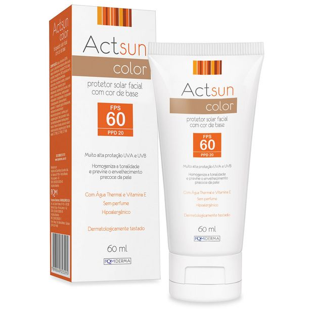 Oferta de Actsun Protetor Solar Facial  Fps60 Com Cor 60ml por R$37,49