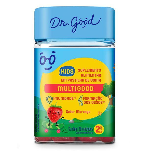 Oferta de Multigood Dr. Good Kids Sabor Morango 30 Gomas por R$32,65