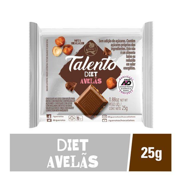 Oferta de Chocolate Garoto Talento Diet Com Avelãs 25g por R$4,49