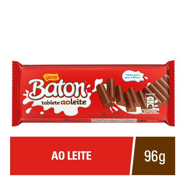 Oferta de Chocolate Garoto Baton Ao Leite Tablete 96g por R$7,99