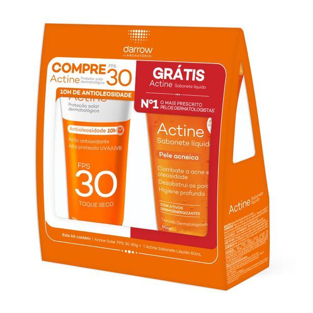 Oferta de Kit Protetor Solar Facial Actine Fps30 Toque Seco 40g Gratis Sabonete Facial Actine 60ml por R$39,99