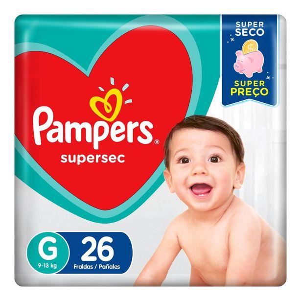 Oferta de Fraldas Pampers Supersec G 26 Unidades por R$19,9