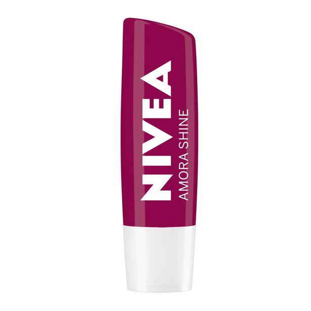 Oferta de NIVEA Hidratante Labial Amora Shine Hidratação Profunda 4,8 g por R$15,99