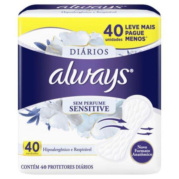 Oferta de Protetor Diário Always Sensitive/Summer Com 40 Unidades Ed. Limitada por R$9,99