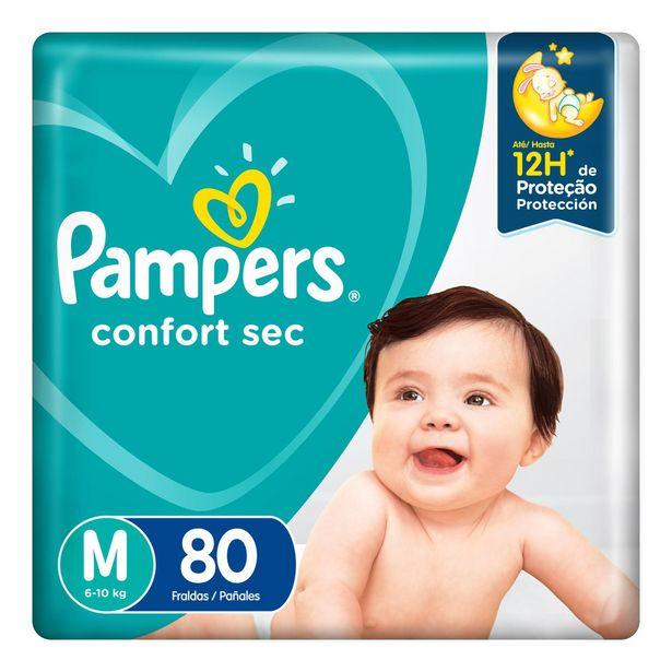Oferta de Fralda Pampers Confort Sec M 80 Unidades por R$72,99