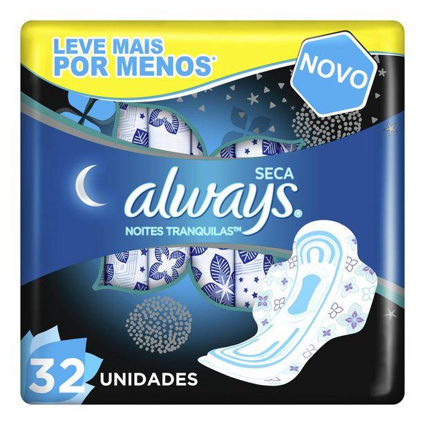 Oferta de Absorvente Always Noites Tranquilas Cobertura Seca Com Abas 32 Unidades Preço Especial por R$22,99