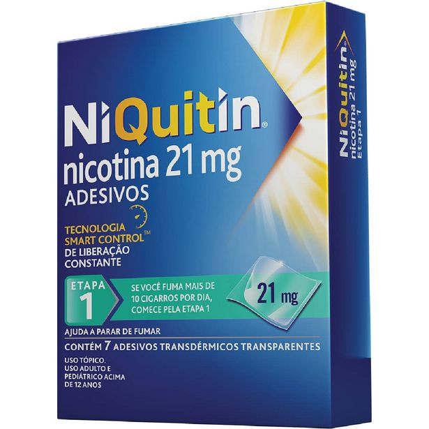 Oferta de Adesivos para Parar de Fumar NiQuitin 21mg com 7 unidades por R$75,49