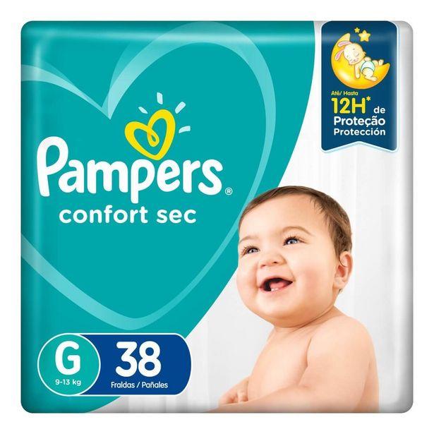 Oferta de Fralda Pampers Confort Sec G com 38 unidades por R$46,39
