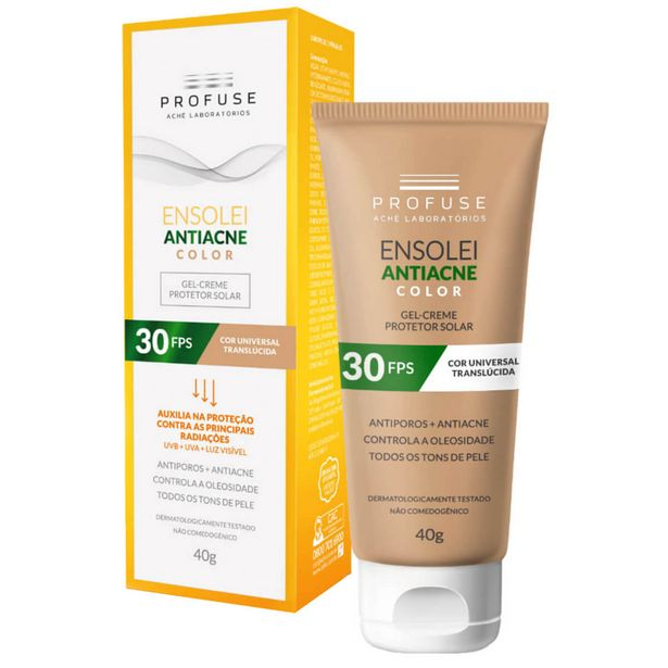 Oferta de Protetor Solar Facial Profuse Ensolei Antiacne Color FPS 30 com 40g por R$44,14