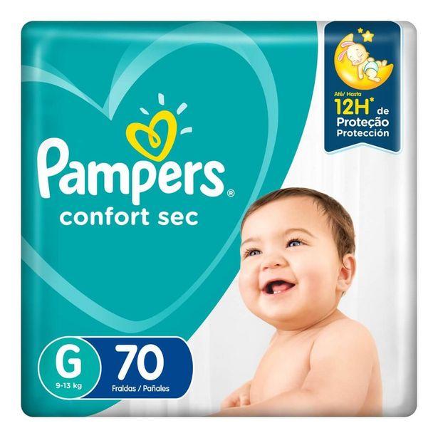 Oferta de Fralda Pampers Confort Sec G com 70 unidades por R$66,59