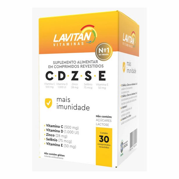 Oferta de Suplemento Alimentar Lavitan CDZSE Mais Imunidade com 30 comprimidos por R$28,99