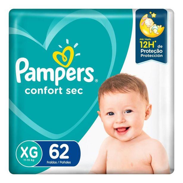 Oferta de Fralda Pampers Confort Sec XG com 62 unidades por R$66,59