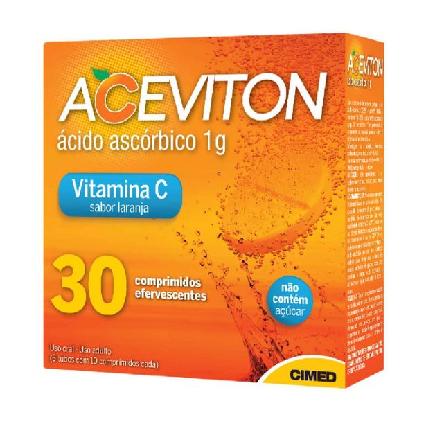 Oferta de Aceviton 1g Sabor Laranja com 30 comprimidos efervescentes por R$18,89