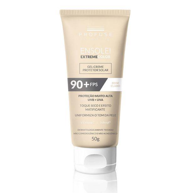 Oferta de Protetor Solar Facial Profuse Ensolei Extreme Color Bege Claro FPS 90 com 50g por R$58,49