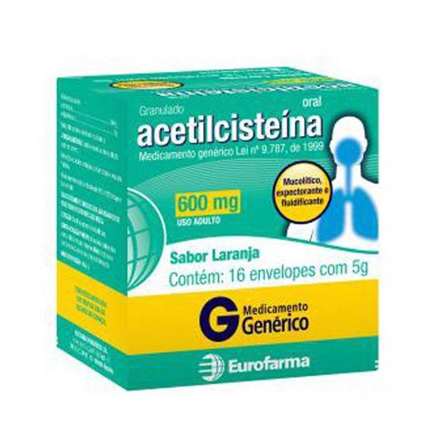 Oferta de Acetilcisteína 600mg Eurofarma com 16 envelopes de 5g por R$67,98
