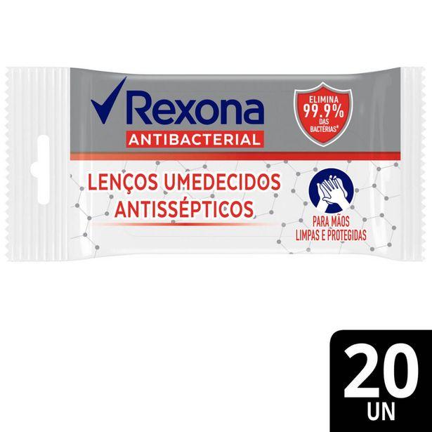 Oferta de Lenço Umedecido Antisséptico Rexona Antibacterial com 20 Unidades por R$4