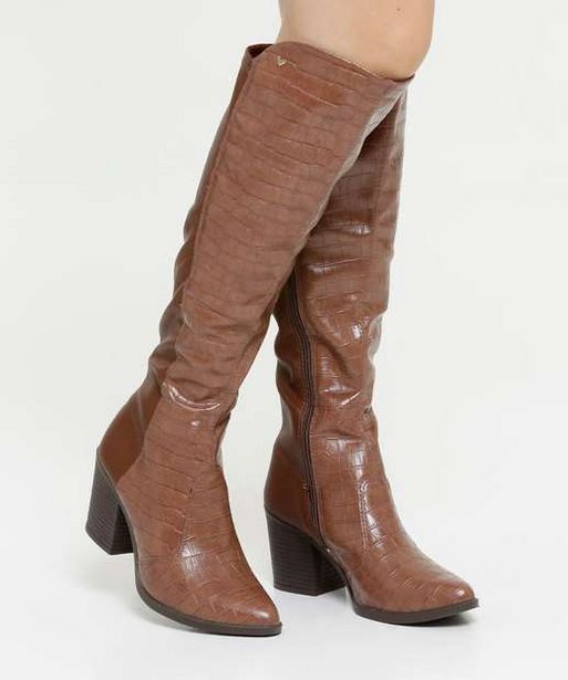 Oferta de Bota Feminina Over The Knee Textura Croco Mississipi por R$69,99