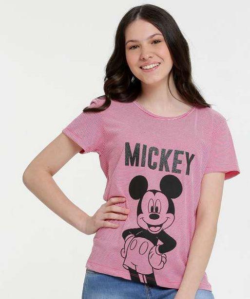 Oferta de Blusa Juvenil Listrada Mickey Manga Curta Disney por R$15,99