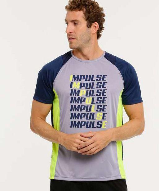 Oferta de Camiseta Masculina Fitness Estampada Manga Curta  por R$26,99