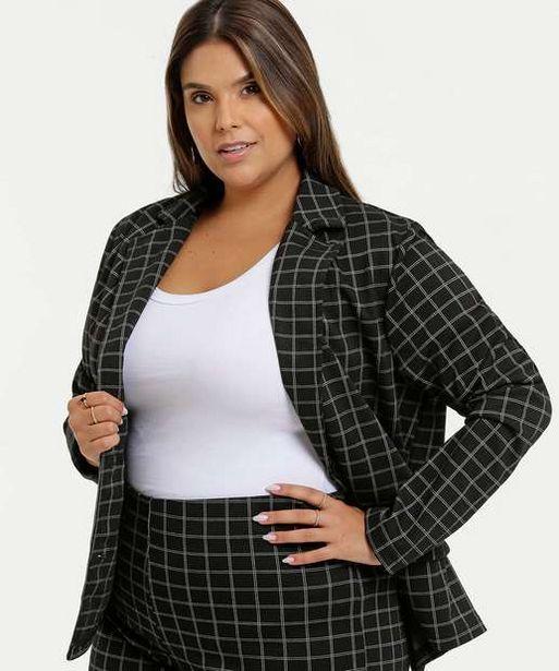 Oferta de Blazer Feminino Estampa Xadrez Plus Size Marisa por R$69,99