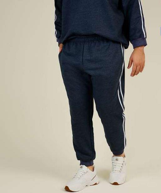 Oferta de Calça Masculina Jogger Moletom Listras Plus Size por R$49,99