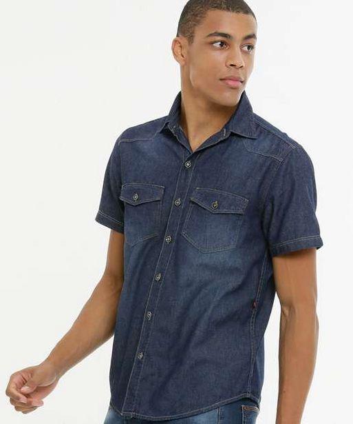 Oferta de Camisa Masculina Jeans Manga Curta por R$44,99
