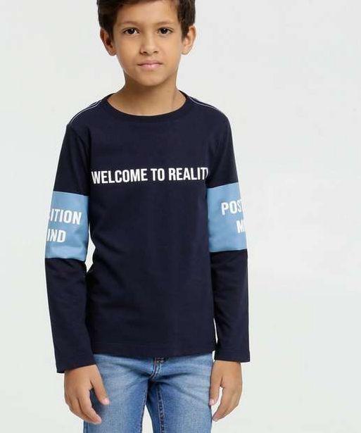 Oferta de Camiseta Infantil Estampa Frontal Manga Longa MR por R$13,99