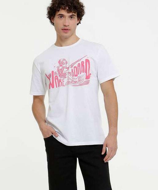 Oferta de Camiseta Masculina Estampa Frontal Manga Curta por R$19,99