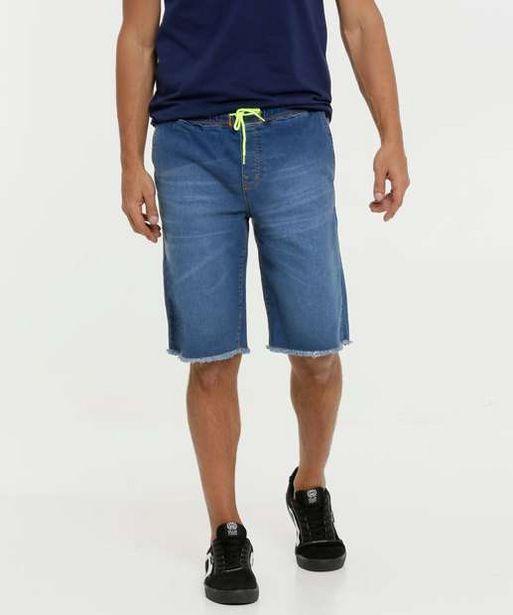 Oferta de Bermuda Masculina Jeans Tiras Neon Razon por R$49,99