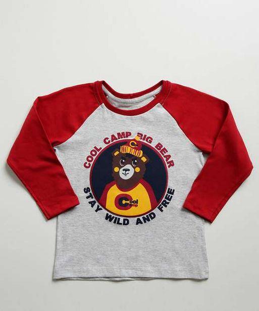 Oferta de Camiseta Infantil Estampa Urso Manga Longa MR por R$15,99