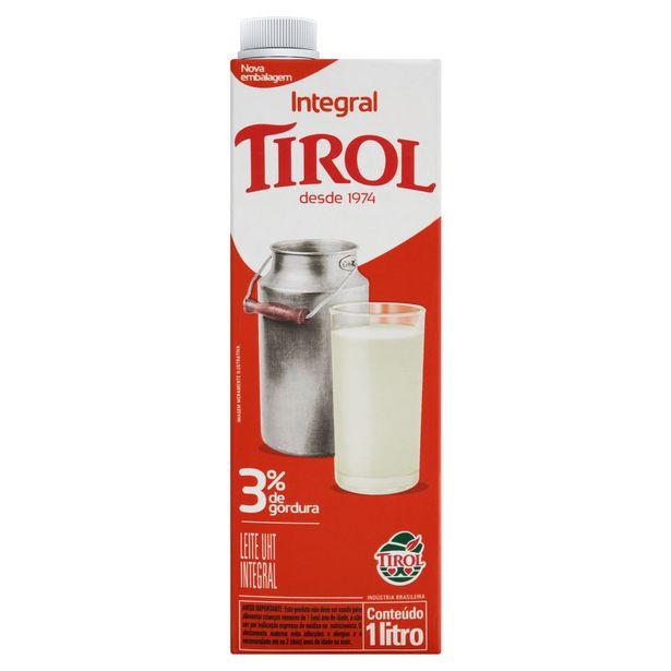 Oferta de Leite UHT Integral Tirol Caixa com Tampa 1L por R$3,8