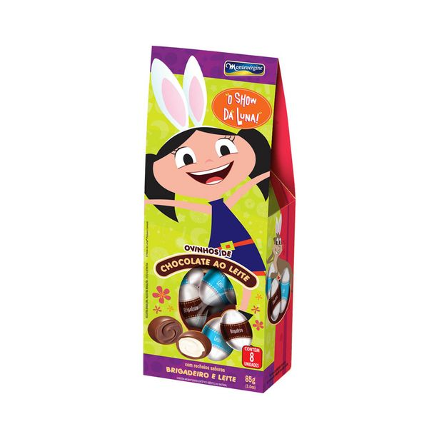 Oferta de Mini Ovos de Chocolate ao Leite com Recheio de Brigadeiro Montevergine Show da Luna 85g por R$3,89