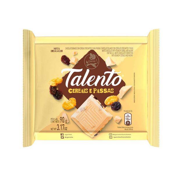 Oferta de Barra de Chocolate Branco com Cereais Talento 90 g por R$5,2